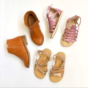 Cat & Jack pink gold sandals tan brown boots shoes